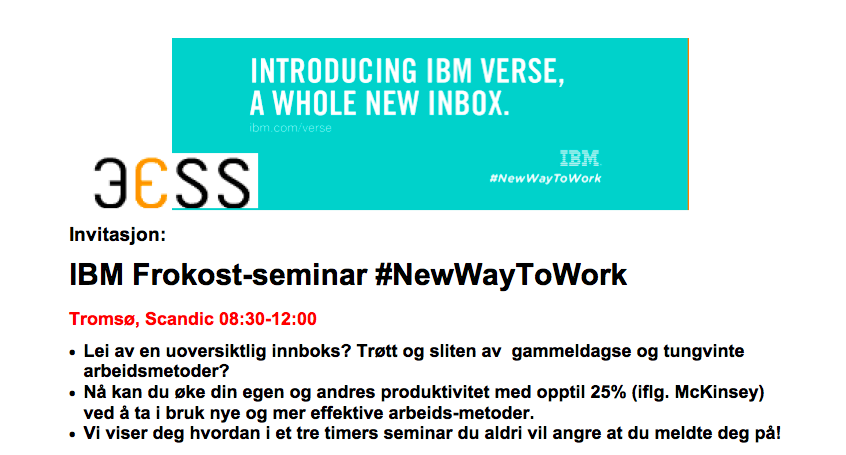 IBM Frokostseminar #Newwaytowork #Tromsø